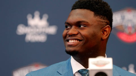 <p>               New Orleans Pelicans first-round NBA draft pick Zion Williamson smiles at his introductory news conference at the team's practice facility in Metairie, La., Friday, June 21, 2019. (AP Photo/Gerald Herbert)             </p>