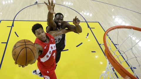 <p>               Toronto Raptors guard Kyle Lowry (7) shoots in front of Golden State Warriors forward Draymond Green during the second half of Game 4 of basketball's NBA Finals in Oakland, Calif., Friday, June 7, 2019. (AP Photo/Tony Avelar, Pool)             </p>