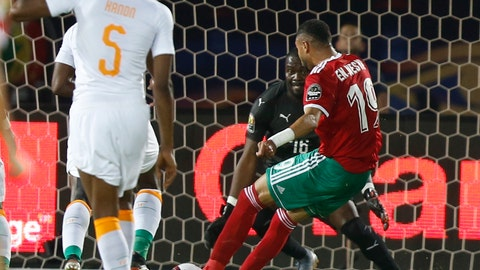 <p>               Morocco's Youssef En-Nesyri scores during the African Cup of Nations group D soccer match between Morocco and Ivory Coast in Al Salam Stadium in Cairo, Egypt, Friday, June 28, 2019. (AP Photo/Ariel Schalit)             </p>