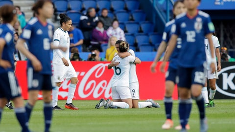 <p>               Argentina's Sole Jaimes, right, hugs teammate Aldana Cometti at the end of the Women's World Cup Group D soccer match between Argentina and Japan at the Parc des Princes in Paris, Monday, June 10, 2019. The match ended in a 0-0 draw. (AP Photo/Alessandra Tarantino)             </p>
