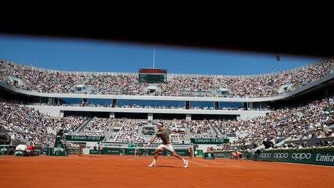 <p>               Switzerland's Roger Federer plays a shot against Argentina's Leonardo Mayer during their fourth round match of the French Open tennis tournament at the Roland Garros stadium in Paris, Sunday, June 2, 2019. (AP Photo/Pavel Golovkin)             </p>