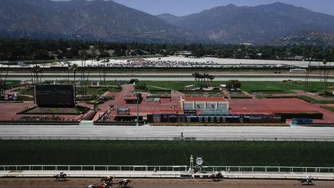 <p>               Horses finish the fourth race during the last day of the winter/spring meet at the Santa Anita horse racing track Sunday, June 23, 2019, in Santa Anita, Calif. (AP Photo/Chris Carlson)             </p>