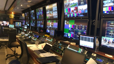 <p>               In this May 15, 2019, photo, some of the equipment in the NBC Sports television truck at Pimlico Race Course used for coverage of the Preakness Stakes horse race is shown in Baltimore. When Justify ran through the fog to win the 2018 Preakness, announcer Larry Collmus couldn't see the track. But thanks to high-definition monitors in front of him and cameras capturing the action all the way around the track, it's never an issue for him or the TV audience to see the Belmont or any Triple Crown race in any condition. (AP Photo/Stephen Whyno)             </p>