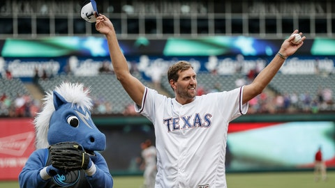 <p>               FILE - In this June 5, 2019 file photo, former Dallas Mavericks player Dirk Nowitzki waves to fans after throwing the first pitch before a baseball game between the Baltimore Orioles and the Texas Rangers in Arlington, Texas.  Nowitzki looks relaxed and happy about two months after wrapping up his record 21st season with the same franchise. The big German has been traveling with his family and eating plenty of pizza and ice cream. Nowitzki says he will eventually want to work out again. For now the highest-scoring foreign-born player in NBA history figures he's at least 20 pounds above his playing weight and not too concerned about it. (AP Photo/Brandon Wade)             </p>