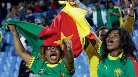 <p>               Cameroon fans cheer on their team during the Women's World Cup Group E soccer match between Canada and Cameroon in Montpellier, France, Monday, June 10, 2019. (AP Photo/Claude Paris)             </p>