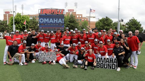 <p>               Louisville players pose after defeating East Carolina 12-0 in Game 2 of an NCAA college baseball super regional tournament, Saturday, June 8, 2019, in Louisville, Ky. (AP Photo/Darron Cummings)             </p>