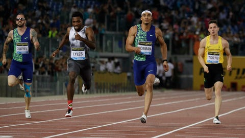 <p>               Michael Norman, second from right, on his way to win the men's 200 meters event at the Golden Gala Pietro Mennea track and field meeting in Rome, Thursday, June 6, 2019. (AP Photo/Gregorio Borgia)             </p>