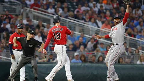 <p>               Boston Red Sox's Rafael Devers holds up the ball after he picked off Minnesota Twins' catcher Mitch Garver at third base during the sixth inning of a baseball game Tuesday, June 18, 2019, in Minneapolis. Devers caught the ball from catcher Christian Vazquez. (AP Photo/Stacy Bengs)             </p>