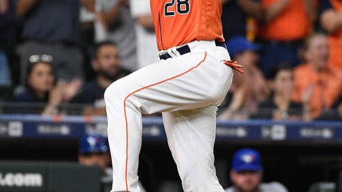 <p>               Houston Astros' Robinson Chirinos celebrates his grand slam off Toronto Blue Jays relief pitcher Thomas Pannone during the eighth inning of a baseball game, Friday, June 14, 2019, in Houston. (AP Photo/Eric Christian Smith)             </p>