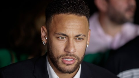 <p>               Brazil's soccer player Neymar speaks to the press as he leaves a police station where he answered questions about rape allegations against him in Sao Paulo, Brazil, Thursday, June 13, 2019. Neymar denies any wrongdoing. (AP Photo/Andre Penner)             </p>