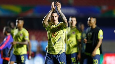 <p>               Colombia's James Rodriguez applauds to fans at the end of a Copa America Group B soccer match at the Morumbi stadium in Sao Paulo, Brazil, Wednesday, June 19, 2019. (AP Photo/Victor R. Caivano)             </p>