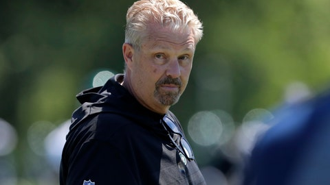<p>               New York Jets defensive coordinator Gregg Williams looks on as his players run drills at the team's NFL football training facility in Florham Park, N.J., Tuesday, June 4, 2019. (AP Photo/Julio Cortez)             </p>
