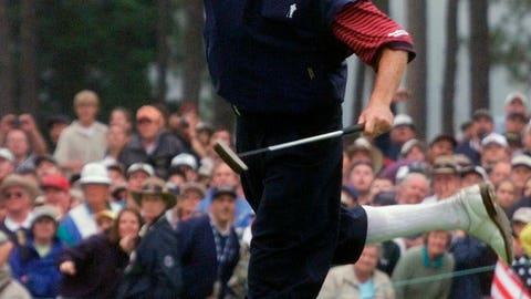 <p>               FILE - In this June 20, 1999, file photo, Payne Stewart celebrates after winning the U.S. Open golf championship at the Pinehurst No. 2 course in Pinehurst, N.C. (AP Photo/Chuck Burton, File)             </p>