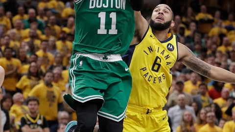 <p>               FILE - In this April 19, 2019, file photo, Boston Celtics' Kyrie Irving (11) shoots against Indiana Pacers' Cory Joseph (6) during the second half of Game 3 of an NBA basketball first-round playoff series in Indianapolis. Rarely relevant at the same time on the basketball court, the Knicks and Nets are front and center in the free agency race, two of the teams best positioned to make a splash when the market opens. Both can afford two top players, with hopes of landing not only a Kevin Durant or Kyrie Irving, but possibly even both. (AP Photo/Darron Cummings, File)             </p>
