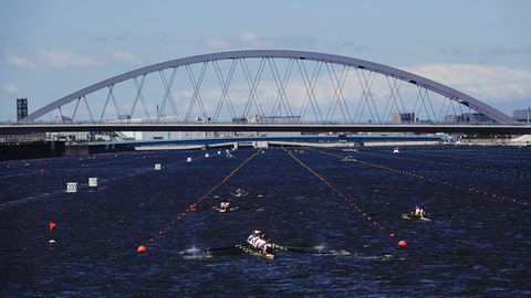 <p>               Rowers prepare for a test run at the Sea Forest Waterway, a venue for rowing at the Tokyo 2020 Olympics, Sunday, June 16, 2019, in Tokyo. (AP Photo/Jae C. Hong)             </p>