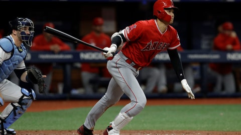 <p>               Los Angeles Angels' Shohei Ohtani, of Japan, watches his triple off Tampa Bay Rays' Ryan Yarbrough during the fifth inning of a baseball game Thursday, June 13, 2019, in St. Petersburg, Fla. Catching for the Rays is Mike Zunino. (AP Photo/Chris O'Meara)             </p>