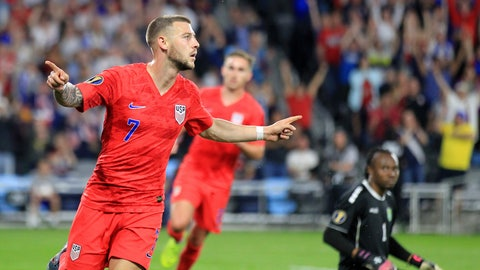 <p>               United States' Paul Arriola (7) celebrates after scoring a goal against Guyana goalie Akel Clarke, lower right, during the first half of a CONCACAF Gold Cup soccer match Tuesday, June 18, 2019, in St. Paul, Minn. (AP Photo/Andy Clayton- King)             </p>