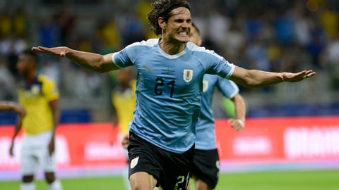 <p>               Uruguay's Edinson Cavani celebrates scoring his side's second goal against Ecuador during a Copa America Group C soccer match at the Mineirao stadium in Belo Horizonte, Brazil, Sunday, June 16, 2019. (AP Photo/Eugenio Savio)             </p>