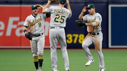 <p>               Oakland Athletics center fielder Ramon Laureano (22), right fielder Stephen Piscotty (25) and left fielder Robbie Grossman (8) celebrate after the team defeated the Tampa Bay Rays during a baseball game Wednesday, June 12, 2019, in St. Petersburg, Fla. Oakland defeated Tampa Bay 6-2. (AP Photo/Chris O'Meara)             </p>