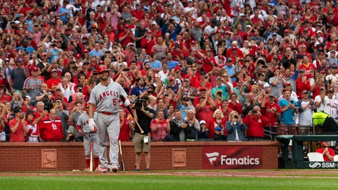 <p>               Los Angeles Angels' Albert Pujols (5) is greeted by a standing ovation before his first at-bat during the first inning a baseball game against the St. Louis Cardinals, Friday, June 21, 2019, in St. Louis. (AP Photo/L.G. Patterson)             </p>