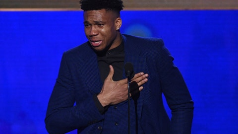 <p>               NBA player Giannis Antetokounmpo, of the Milwaukee Bucks, reacts as he accepts the most valuable player award at the NBA Awards on Monday, June 24, 2019, at the Barker Hangar in Santa Monica, Calif. (Photo by Richard Shotwell/Invision/AP)             </p>