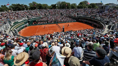 <p>               In this Saturday, June 1, 2019, image, spectators watch a tennis match at court 1 during third round match of the French Open tennis tournament at the Roland Garros stadium in Paris. When the French Open ends, its Court No. 1 will bid adieu, too, demolished to make way for a garden at Roland Garros. (AP Photo/Pavel Golovkin)             </p>