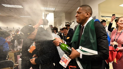 <p>               Toronto Raptors President Masai Ujiri celebrates after the team's 114-110 win over the Golden State Warriors in Game 6 of basketball's NBA Finals, Thursday, June 13, 2019, in Oakland, Calif. (Frank Gunn/The Canadian Press via AP)             </p>