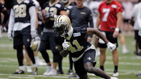 <p>               FILE - In this Tuesday, June 11, 2019, file photo, New Orleans Saints running back Alvin Kamara (41) runs a drill during NFL football practice in Metairie, La. Kamara says the offseason is a time for him to experiment with training methods and nutrition to improve as an athlete, and to continue studying pro football in hopes of adding new wrinkles to his already dynamic game. (AP Photo/Gerald Herbert, File)             </p>