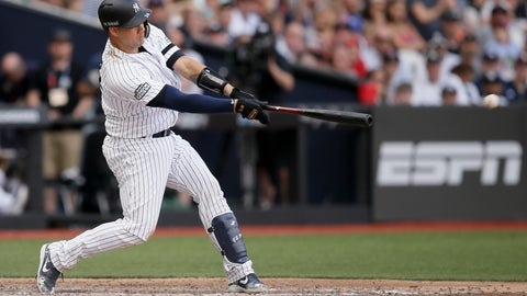 <p>               New York Yankees' Gary Sanchez hits a two-RBI single against the Boston Red Sox during the seventh inning of a baseball game in London, Sunday, June 30, 2019. (AP Photo/Tim Ireland)             </p>