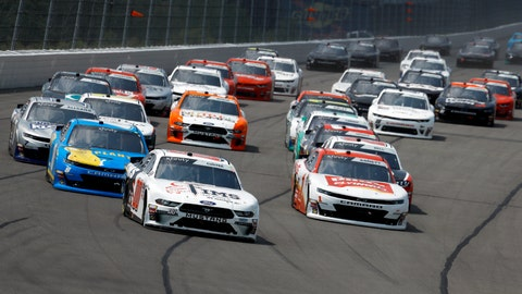 <p>               Cole Custer leads the field into Turn One during the NASCAR Xfinity Series auto race at Pocono Raceway, Saturday, June 1, 2019, in Long Pond, Pa. (AP Photo/Matt Slocum)             </p>