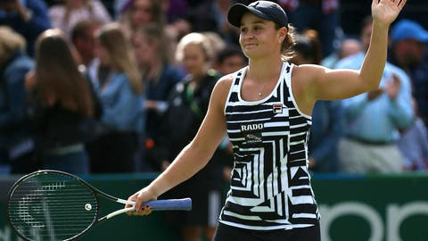 <p>               Australia's Ashleigh Barty celebrates after winning her match against Venus Williams of the U.S during day seven of the Nature Valley Classic at Edgbaston Priory Club, Birmingham, England, Friday, June 21, 2019. (Nigel French/PA via AP)             </p>