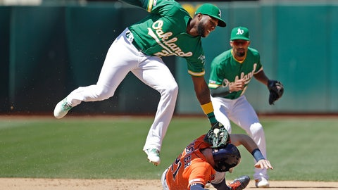 <p>               Oakland Athletics' Jurickson Profar, left, tags out Houston Astros' Derek Fisher in a seventh inning attempted steal of second base during a baseball game Sunday, June 2, 2019, in Oakland, Calif. (AP Photo/Ben Margot)             </p>
