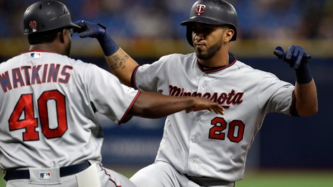 <p>               Minnesota Twins' Eddie Rosario (20) celebrates his two-run single off Tampa Bay Rays relief pitcher Adam Kolarek with first base coach Tommy Watkins during the ninth inning of a baseball game Friday, May 31, 2019, in St. Petersburg, Fla. (AP Photo/Chris O'Meara)             </p>
