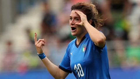 <p>               Italy's Cristiana Girelli celebrates after scoring her side's third goal during the Women's World Cup Group C soccer match between Italy and Jamaica at the Stade Auguste-Delaune in Reims, France, Friday, June 14, 2019. (AP Photo/Francisco Seco)             </p>