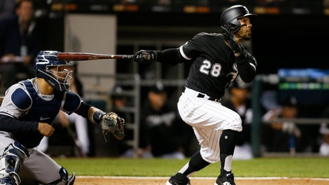 <p>               Chicago White Sox's Leury Garcia watches his solo home run against the New York Yankees during the seventh inning of a baseball game Thursday, June 13, 2019, in Chicago. (AP Photo/Nuccio DiNuzzo)             </p>