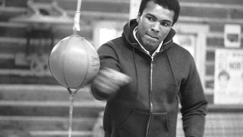 <p>               FILE -- In this Jan. 10, 1974 file photo, Muhammad Ali punches a bag in his Deer Lake, Pa., training camp where he was preparing for his rematch with Joe Frazier. The rustic Pennsylvania training camp where Ali prepared for some of his most famous fights has undergone an elaborate restoration. The camp in Deer Lake opened to the public Saturday, June 1, 2019 as a shrine to his life and career. (AP Photo/ Rusty Kennedy)             </p>