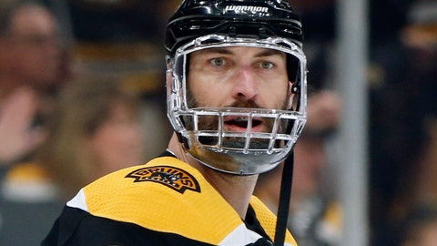 <p>               Boston Bruins' Zdeno Chara, of Slovakia, warms up before Game 5 of the NHL hockey Stanley Cup Final against the St. Louis Blues, Thursday, June 6, 2019, in Boston. (AP Photo/Michael Dwyer)             </p>