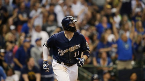 <p>               Milwaukee Brewers' Mike Moustakas watches his two- run home run against the Pittsburgh Pirates during the eighth inning of a baseball game, Sunday, June 9, 2019, in Milwaukee. (AP Photo/Jeffrey Phelps)             </p>