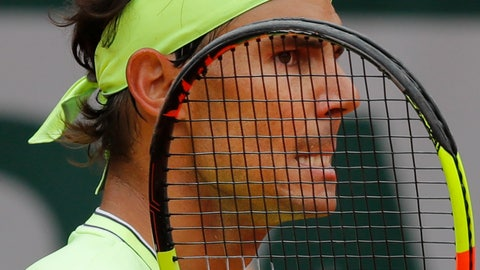 <p>               Spain's Rafael Nadal grimaces after scoring against Switzerland's Roger Federer during their semifinal match of the French Open tennis tournament at the Roland Garros stadium in Paris, Friday, June 7, 2019. (AP Photo/Michel Euler)             </p>