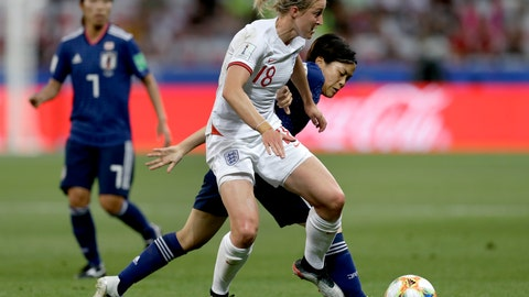 <p>               England's Ellen White, front, and Japan's Rikako Kobayashi, right, challenge for the ball during the Women's World Cup Group D soccer match between Japan and England at the Stade de Nice in Nice, France, Wednesday, June 19, 2019. (AP Photo/Claude Paris)             </p>