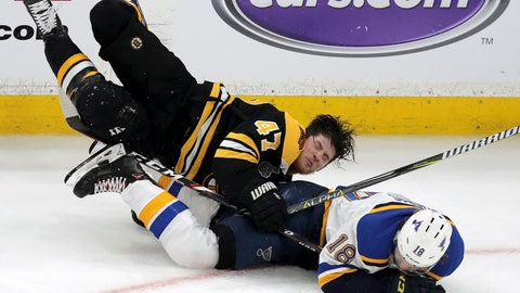 <p>               Boston Bruins' Torey Krug (47) and St. Louis Blues' Robert Thomas (18) crash to the ice during the third period in Game 1 of the NHL hockey Stanley Cup Final, Monday, May 27, 2019, in Boston. (AP Photo/Charles Krupa)             </p>