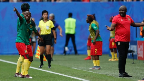 <p>               Cameroon's Ajara Nchout, left, and Cameroon head coach Alain Djeumfa react after a VAR decision that ruled out Cameroon's Ajara Nchout's goal for offside during the Women's World Cup round of 16 soccer match between England and Cameroon at the Stade du Hainaut stadium in Valenciennes, France, Sunday, June 23, 2019. (AP Photo/Michel Spingler)             </p>