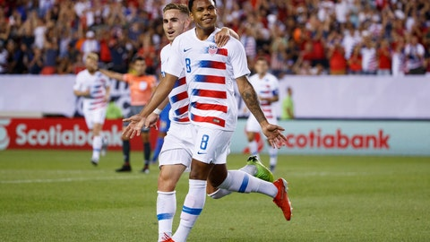 <p>               United States' Weston Mckennie, right, celebrates with Tyler Boyd after Mcnennie's goal during the first half of a CONCACAF Gold Cup soccer match against Curacao, Sunday, June 30, 2019, in Philadelphia. (AP Photo/Matt Slocum)             </p>