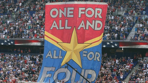 <p>               FILE- In this Sunday, May 26, 2019, file photo, fans hold up a banner in support of the United States women's national team before they compete in the Women's World Cup during an international friendly soccer match between the United States and Mexico in Harrison, N.J. The World Cup is not just about soccer for many of the players and teams in France. For the defending champion U.S. women's team, that means focus on the fight for equal pay to the men's national team.(AP Photo/Steve Luciano, File)             </p>