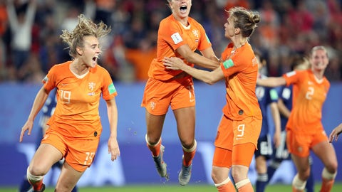<p>               Netherlands' Lieke Martens, center, celebrates after scoring her side's second goal from the penalty spot during the Women's World Cup round of 16 soccer match between the Netherlands and Japan at the Roazhon Park, in Rennes, France, Tuesday, June 25, 2019. (AP Photo/David Vincent)             </p>