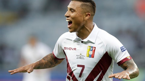 <p>               Venezuela's Darwin Machis celebrates after scoring his side's second goal during a Copa America Group A soccer match against Bolivia at Mineirao stadium in Belo Horizonte, Brazil, Saturday, June 22, 2019. (AP Photo/Eraldo Peres)             </p>