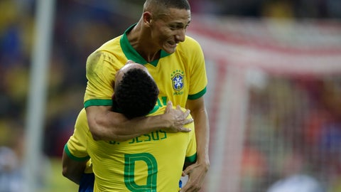 <p>               Brazil's Gabriel Jesus, bottom, celebrates scoring his side's 4th goal with Brazil's Richarlison during a friendly soccer match against Honduras at the Beira Rio stadium in Porto Alegre, Brazil, Sunday, June 9, 2019. Brazil opens the Copa America tournament next Friday against Bolivia in Sao Paulo. (AP Photo/Edison Vara)             </p>