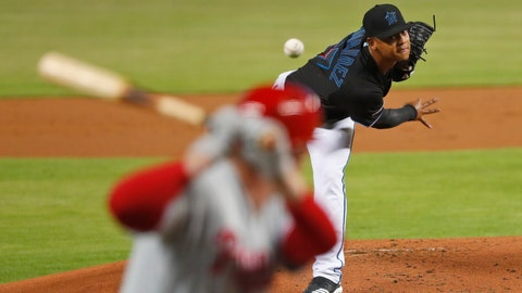 <p>               Miami Marlins' Elieser Hernandez, top, pitches to Philadelphia Phillies' Rhys Hoskins during the first inning of a baseball game, Friday, June 28, 2019, in Miami. (AP Photo/Wilfredo Lee)             </p>
