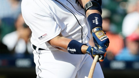 <p>               Detroit Tigers' Miguel Cabrera hits a two-run single against the Washington Nationals during the fifth inning of a baseball game Saturday, June 29, 2019, in Detroit. (AP Photo/Duane Burleson)             </p>