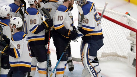 <p>               St. Louis Blues teammates congratulate goaltender Jordan Binnington, right, after defeating the Boston Bruins in Game 5 of the NHL hockey Stanley Cup Final, Thursday, June 6, 2019, in Boston. (AP Photo/Charles Krupa)             </p>